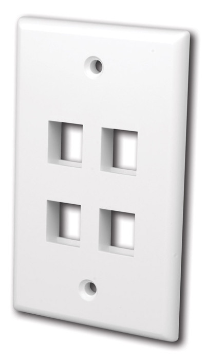 VANCO Quickport Wall Plate 4-Port White