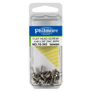 "PHILMORE 4-40 x 3/8"" Flat Head Screws 30pk"