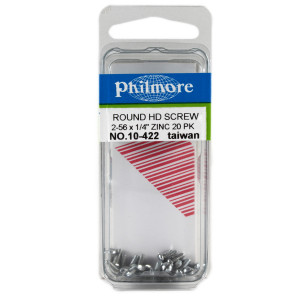 "PHILMORE 2-56 x 1/4"" Round Head Screws 20pk"