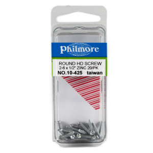 "PHILMORE 2-56 x 1/2"" Round Head Screws 20pk"