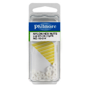 "PHILMORE 4-40 x 1/4"" Nylon Hex Nuts 15pk"