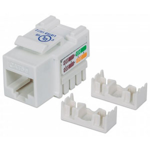 INTELLINET Cat5e Keystone Jack UTP, White, Punch-down