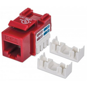 INTELLINET Cat6 Keystone Jack UTP, Red, Punch-down
