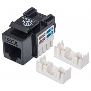 INTELLINET Cat6 Keystone Jack UTP, Black, Punch-down