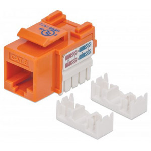 INTELLINET Cat6 Keystone Jack UTP, Orange, Punch-down