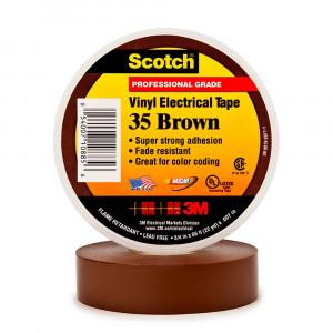 "3M Electrical Tape 35 3/4"" x 66ft Brown"