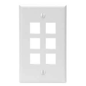 LEVITON Quickport Wall Plate 6-Port White