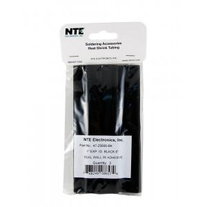 """NTE Dual Wall Adhesive Heat Shrink 1"""" Black 3pk"""