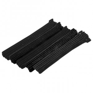 "Eclipse Hook & Loop Cable Ties 8"" Black 25 pack"