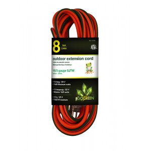 GO GREEN 8ft AC Extension Cord 16/3 Orange