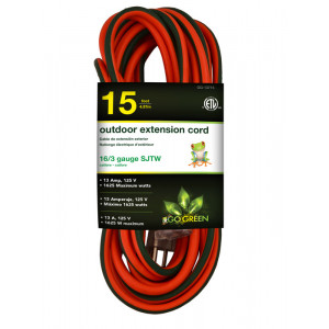 GO GREEN 15ft AC Extension Cord 16/3 Orange