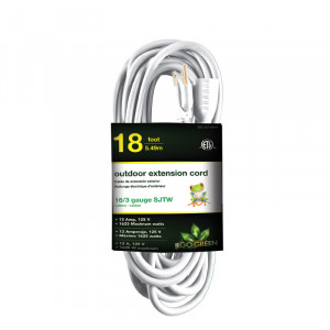 GO GREEN 18ft AC Extension Cord 16/3 White