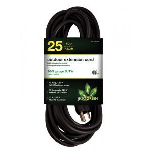 GOGREEN 25ft AC Extension Cord 16/3 Black