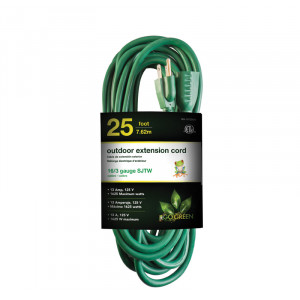 GO GREEN 25ft AC Extension Cord 16/3 Green