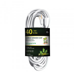 GO GREEN 16/3 40' Heavy Duty Extension Cord White