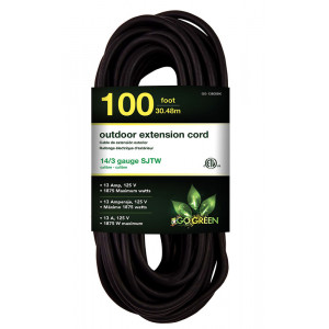 GO GREEN 14/3 100' Heavy Duty Extension Cord