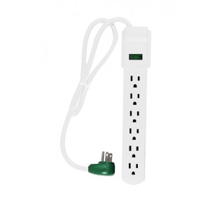GOGREEN 6-Outlet Surge Protector 90 Joules White