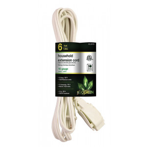 GO GREEN 6ft 16/2 3- Outlet Household Extension Cord - White
