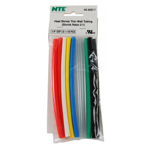 "NTE Thin Wall Heat Shrink 1/4"" Multi Color 10pk"