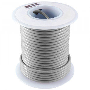 NTE Hook-up Wire 22 AWG Stranded 25ft Gray